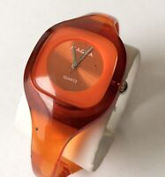 Vintage Ladies MAGNA Quartz Japan Movement Orange Acrylic Bangle Band Watch