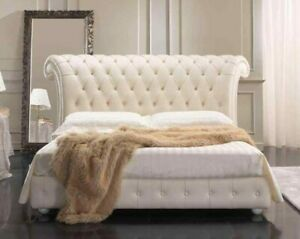 KING BED TOP GRAIN GENUINE LEATHER MODERN TUFTED WHITE  BUTTONED BRAND NEW