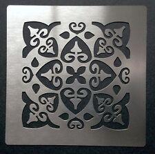 ROMANTICO SHABBY CHIC motivo piastrella quadrata acciaio inox metallo Stencil 7cm x 7cm