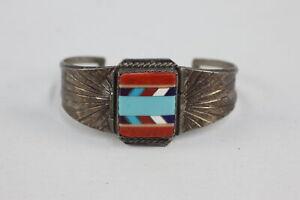.925 Sterling Silver Engraved Enamel Cuff BANGLE (27g)