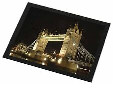 London Tower Bridge Print Black Rim Glass Placemat Animal Table Gift, PLA-LO1GP