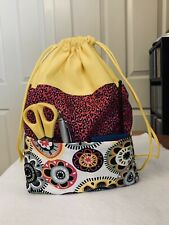 Knitting Drawstring Bag With Outside Pockets, Craft Tote, Crochet, Yarn Project