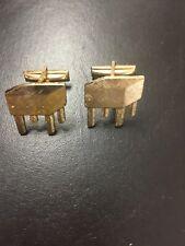 Vintage Butcher Block Metal Gold Tone Cufflinks