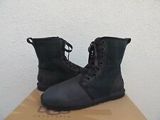UGG JAXEN BLACK PLAID SHEARLING LINED LACE-UP ANKLE BOOTS, US 7/ EUR 38 ~NEW