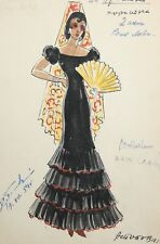 1954 Watercolor painting theatre design Spanish woman folk costume signed