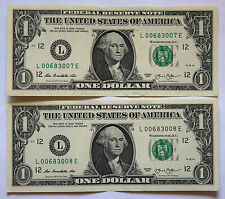 USA: 2 x $1 Dollar banknotes since 2013 in AUNC Condition. L 00683007 E. 3008 E.