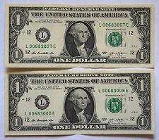USA: 2 x $1 DOLLARO BANCONOTE dal 2013 in (ca. 5113.02 cm) aUNC condizione. L 00683007 E. 3008 E.