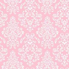 Pink White Damask Wallpaper | Babies Kids Tween Damask Wallpaper | KD1754