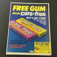 VTG Retro 1984 Care Free Peppermint Sugarless Chewing Gum Print Ad Coupon
