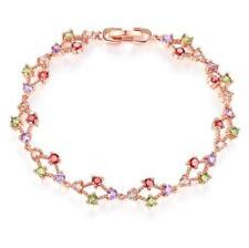 Round Cut Natural Peridot Amethyst Morganite Rose Gold Plated Wedding Bracelets