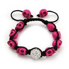 Pink Skull Friendship Bead Bracelet With Crystal Rock Biker Tattoo