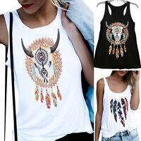 Womens Boho Sleeveless Loose Vest Tank Top Blouse Summer Casual Holiday T-shirt