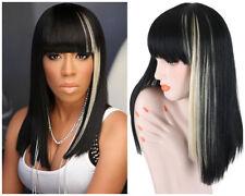 Fashion Long Straight Women Wigs Full Bangs Black Mix White Synthetic Hair Wigs