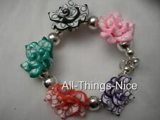 Polymer FIMO Clay 20mm Flowers Floral Charm Bangle Bracelet Fashion Jewellery