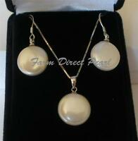 Genuine White Coin Pearl Pendant Necklace Earring SET Cultured Freshwater Silver