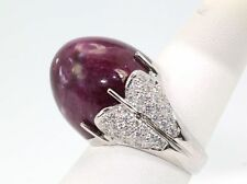 RARE RED RUBY BULLET RING HUGE 42.15 CTS DIAMOND SURROUND 14K HANDMADE size 6.5