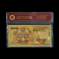 WR Indonesia Colored Gold Banknote 10000 Rupiah Paper Money For Collection