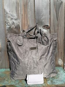 LOT 2 Marc by Marc Jacobs Nylon XL Tote Bag Purse Quilted Mauve w/Lavender Pouch