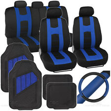 Full Interior Set Rome Car Seat Cover, Rubber Mat & Steering Wheel Cover -Blue