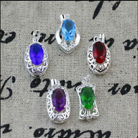 Fashion Women 5 Color 925 Sterling Silver Plated  Crystal Necklace Pendant Chain