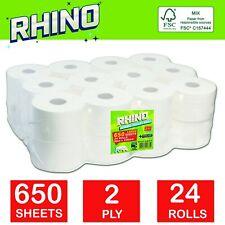 24 Rolls of Rhino 2 Ply Jumbo Commercial Toilet Roll 80M Long (80m x 100mm)