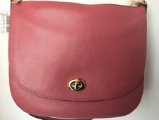 NWT COACH 24771 Rouge Pebbled Leather Large Turnlock Hobo Purse Bag
