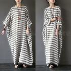 ZANZEA Plus Women's Crew Neck Oversized Long Shirt Dress Kaftan Long Maxi Dress