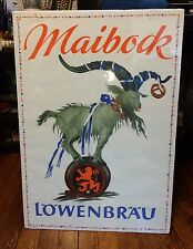Lowenbrau Bock Beer Poster Sign 1950's Maibock Goat Germany