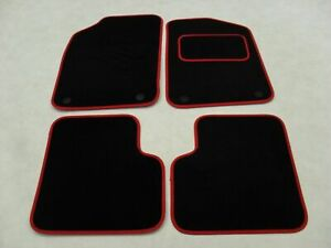 Fiat 500 Dec 2012-on Fully Tailored Deluxe Car Mats in Black with Red Trim.