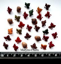 TINY ACORNS & LEAVES Craft Buttons 1ST CLASS POST Novelty Autumn Garden Flowers