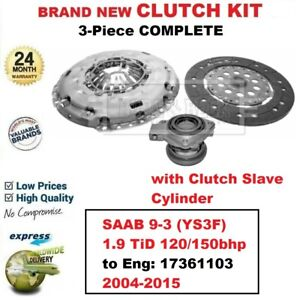 FOR SAAB 9-3 (YS3F) 1.9 TiD 120bhp 150bhp 2004-2015 NEW 3-PC CLUTCH KIT with CSC