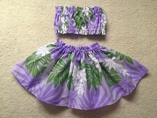 "NEW LAVENDER HAWAIIAN PAU PA'U HULA SKIRT TOP BABY GIRL 10"" LONG1-2 YEARS OLD"