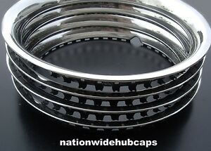 """JEEP WILLYS 15"""" STAINLESS STEEL WHEEL TRIM RINGS BEAUTY RIMS GLAMOUR RING BAND"""