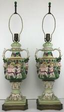 RARE Vintage Pair CAPODIMONTE Bacchus Putti Angel Green Gilt Figural Table Lamps