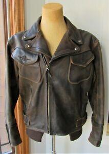 Men's Vintage HARELY DAVIDSON Billings Brown Distressed Leather Jacket XL