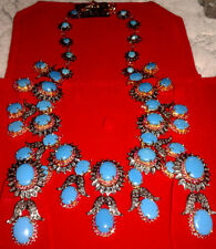 ANTIQUE ROSE CUT DIAMOND 8.52ct SILVER RUBY TURQUOISE WEDDING WEAR NECKLACE SET