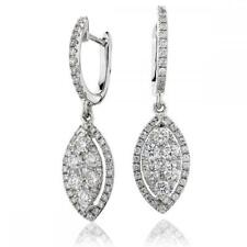 Diamond Marquise Drop Earrings 1.00ct F VS in 18ct White Gold