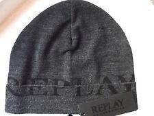 REPLAY Made In Italy DARK GREY Cuff BEANIE Toque Hat UNISEX Mens