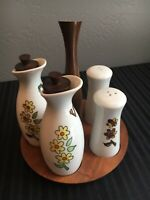 MCM Retro Condiment Set Hand carved Walnut w/ Oil Vinegar S & P and other