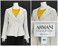 Womens Armani Collezioni 100% Linen Blazer Jacket Grey Button Size IT46 UK14