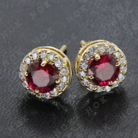 0.65 Ct Round Ruby & Diamond 14k Yellow Gold Finish Solitaire Halo Stud Earrings