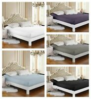 1000TC EgyptianCotton 50cm Deep Wall Fitted Sheet- Solid Color AU King/Queen/ DB