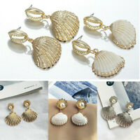 Women Ladies Sea Shell Pearl Pendant Statement Dangle Drop Earrings Jewelry Gift