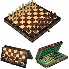 Wood Chess Wooden Magnetic Board Hand Crafted Folding Chessboard Travel Game Set