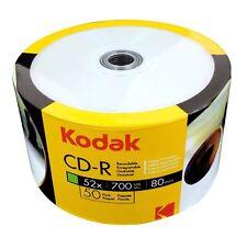 50 Kodak Blank 52X CD-R CDR White Inkjet Hub Printable 700MB Media Disc