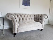 NEW ENGLAND STYLE COMFY CHESTERFIELD PUTTY GREY VELVET 3 & 2 SEATER SOFA COUCH