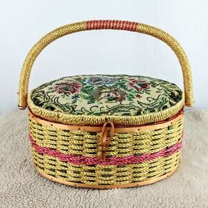 Vintage Swewimg Basket Fabric Floral Woven Inside Pin Cushion & Caring Handle