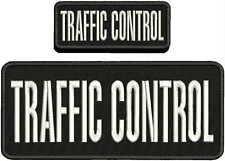 TRAFFIC CONTROL EMBROIDERY PATCH 4X10 AND 2X5 HOOK  ON BACK  WHITE