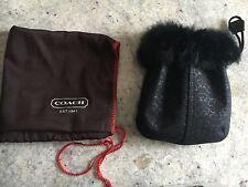 NEW! Coach Black Real Fur Trim Wristlet Bag Purse # 7176