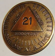 Alcoholics Anonymous AA 21 Year Sunshine Bronze Medallion Token Chip Coin Sober